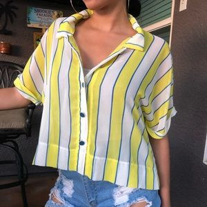 White and yellow stripped mesh button up shirt